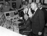 Mayor Yorty operates reactor