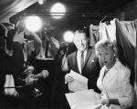 Mayor Samuel W. Yorty and Mrs. Yorty vote in Studio City