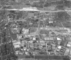 Aerial view of Vail Field and Central Manufacturing District, looking east