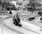 Miniature train hobby uses steam