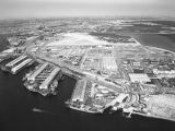 Los Angeles Harbor and Terminal Island, looking east