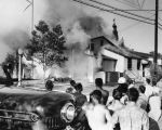 Crowd watches church fire, 11960 Victory Blvd.