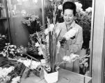 Frances Jones Poetker arranges flowers