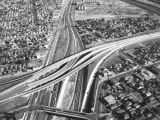 Santa Ana Freeway and Long Beach Freeway interchange, looking east