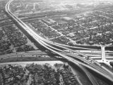 Santa Ana Freeway and Long Beach Freeway interchange, looking southwest