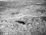 Aerial view of Los Angeles and Silver Lake Reservoir, looking northeast