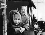 Jimmy and Lori Bucormann, 5 and 3, on board at Travel Town