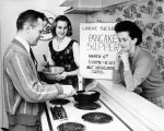 H. E. Kline prepares for Shrove Tuesday pancake supper