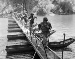 Infantry-trained engineers sprint across newly built bridge
