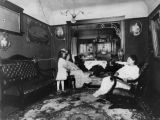 Woman with children in living room