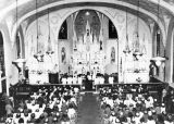 Interior of Sacred Heart Church during mass