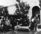 Chinese American students in front of school