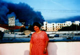 Woman on roof during 1992 L.A. riots
