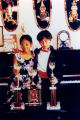 Young pianists with trophies