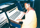 Student at audio board