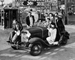 Bill Murphy packs his friends onto his jalopy