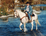 Larry Perkins crossing the L.A. River on horse