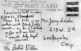 Postcard written by murder suspect