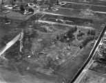 Aerial view of tar pits & oil derricks