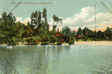 Postcard of West Lake, north shore