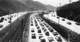 Cars on the freeway in the Cahuenga Pass