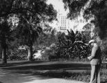 Man taking a photograph at MacArthur Park