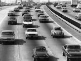 Heavy traffic on the Harbor Freeway