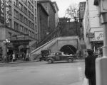 View of Hill and 3rd streets, Angels Flight