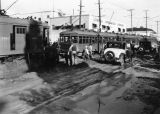 Streetcars stuck in mud