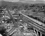 Aerial view of Pasadena Freeway and Figueroa Street