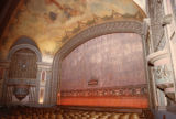 Interior theater seating area curtain
