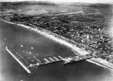 Aerial of Santa Monica, beach, pier, docks