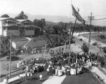 Erection of first power pole at Arroyo Seco Branch