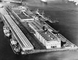 Warehouses and berths, aerial views