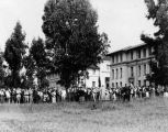 Crowds at Fowler and Johnson halls, Occidental College