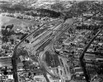 Southern Pacific railroad yard, aerial view