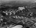 Aerial view of oil refinery tanks, view 2