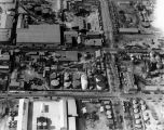 Aerial view of oil refinery tanks, view 3