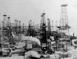 Oil derricks on an oil field
