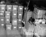 Boxes packed, ready to move Turnabout Theatre from San Francisco to San Diego in 1957.