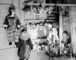 A number of clown Turnabout Tangleproof puppets made by Harry Burnett for Christmas 1957 and sent...