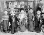 Five hand puppets made by Harry Burnett and Mrs. Wilkes for a possible Jay Ward television program...