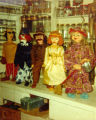 Five puppets standing in Harry Burnett's workshop.