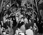 A large crowd of theater-goers in the Turnabout Theatre patio on opening night July 10, 1941.