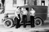 "The Yale Puppeteers standing near their car and wearing clothing they term ""The Hollywood..."