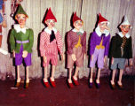 A row of Harry Burnett's Pinocchio marionettes.