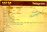 Telegram sent from Odetta in Switzerland to The Yale Puppeteers, congratulating them on their 50th...