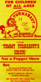 "Flyer for Tommy Turnabout's Circus, ""Not a puppet show."""