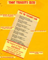 Program/flyer for Tommy Turnabout's Circus, with the words for the Turnabout Game, based on the...