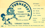 Postcard flyer announcing Turnabout Jr. at Turnabout Theatre in San Francisco in 1956.